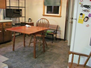 The new kitchen floor, the old kitchen table &c