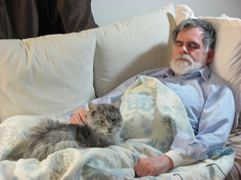 Resting. Steve and Socks. Photo by Sharon Lee