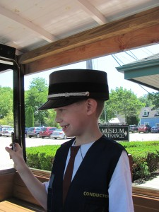 Our conductor shows Steve his card punch Boothbay Railway Village Photo by Sharon Lee
