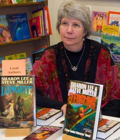 Sharon Lee at book signing, Children's Book Cellar, Waterville Maine